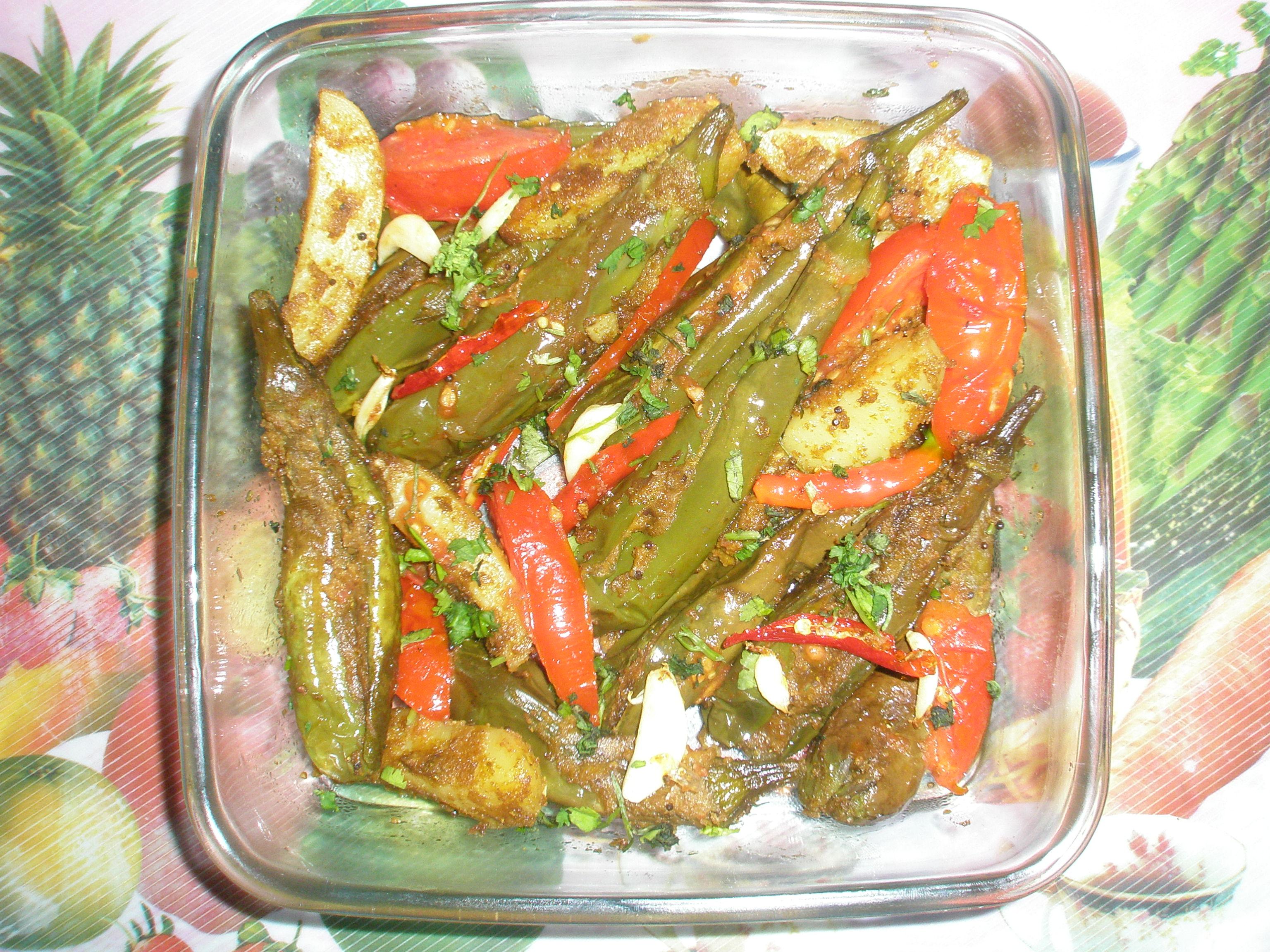 Bharwa Baigan (stuff brinjal) with potato (without onion and garlic)