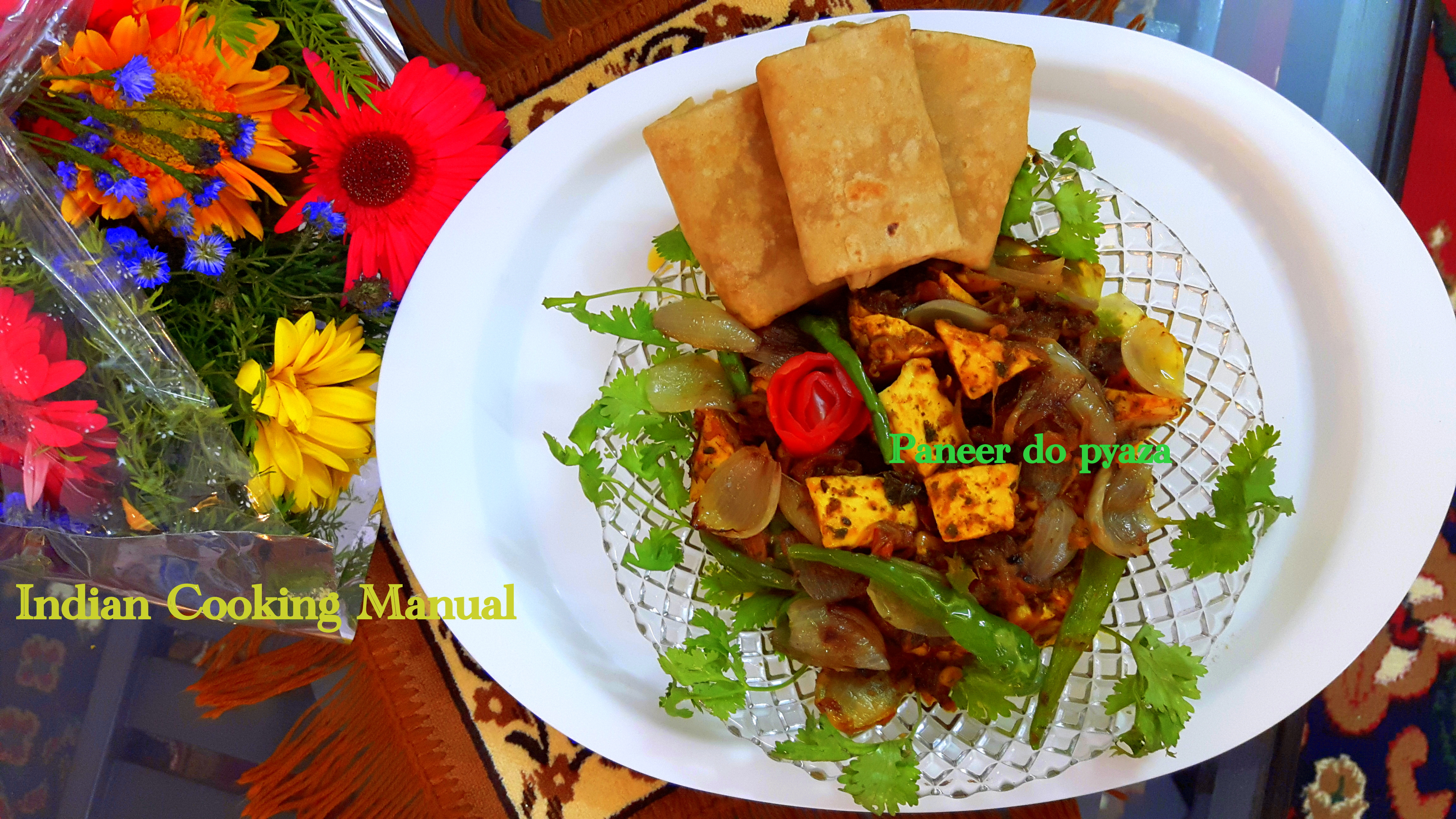 Paneer (cottage cheese) do pyaza