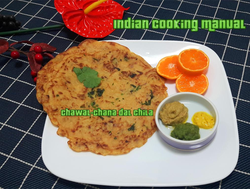 Chawal-Chana dal Chila (Rice and split Bengal gram/lentil Crape or Dosa)