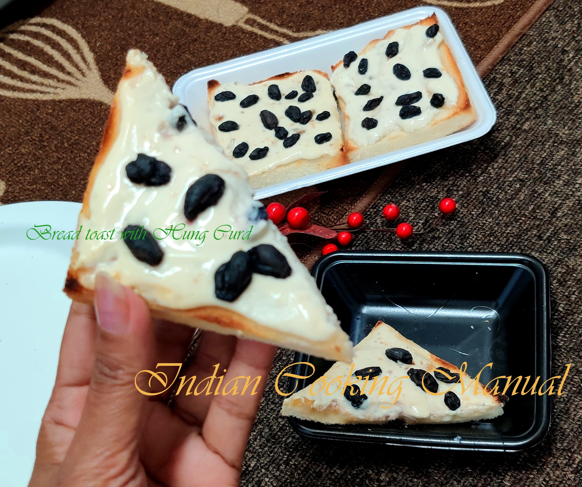 Bread Toast with Hung Curd and Black Raisin