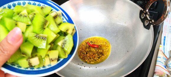add chopped kiwi