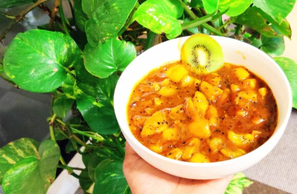Instant Sweet Pickle of Kiwi (Kiwi Khat-mitthi)