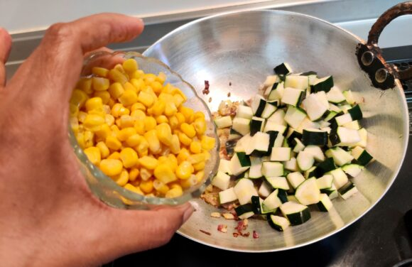 add chopped zucchini and corn